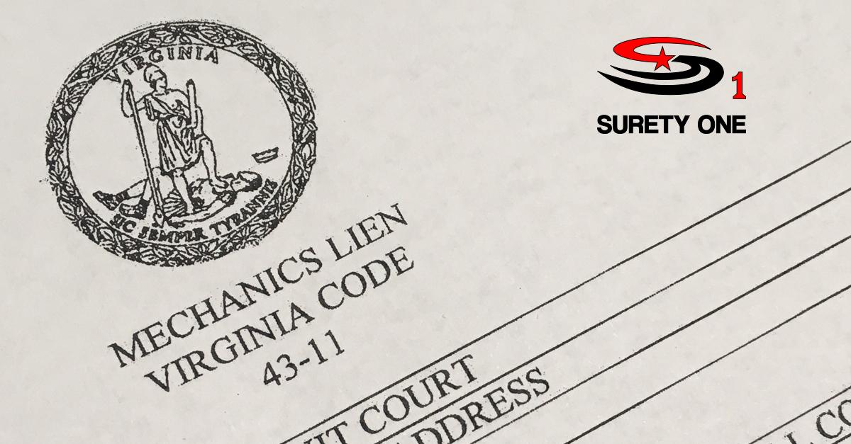 Virginia mechanic 39 s lien release bond for Motor vehicle surety bond